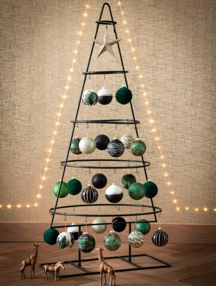 Bola de Navidad verde claro con purpurina (12 piezas)