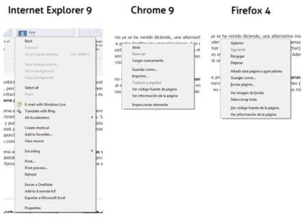 Menú contextual en Internet Explorer 9