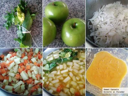 Preparación sopa manzana y zanahoria