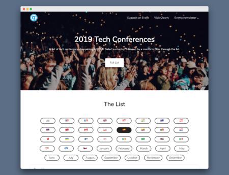 En esta web encuentras un directorio con todas las conferencias y eventos de tecnología que sucederán en 2019