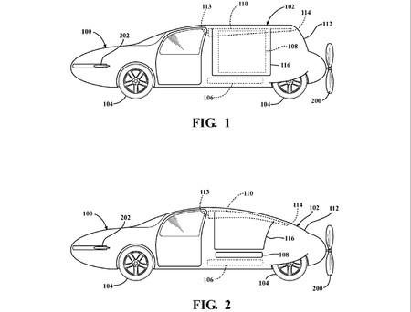 Planos del prototipo de coche volador presentado por Toyota a la Oficina de Marcas y Patentes de los EEUU.