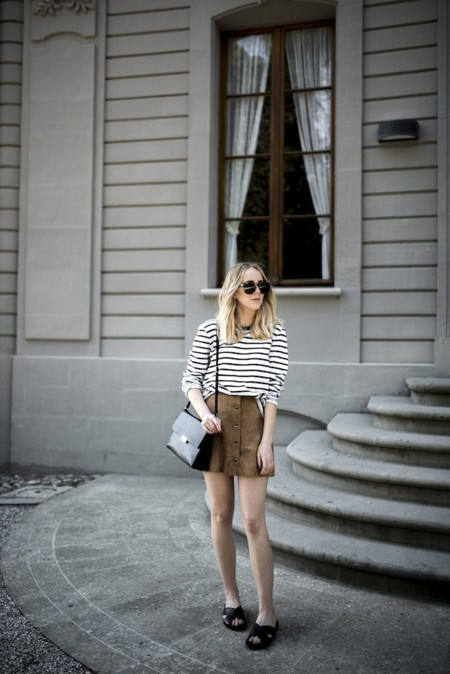 Suede Skirt Stripes
