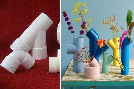 Hazlo tú mismo: jarrones con tuberías de PVC