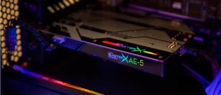 Sound BlasterX AE-5 instalada en una bahía PCI-e