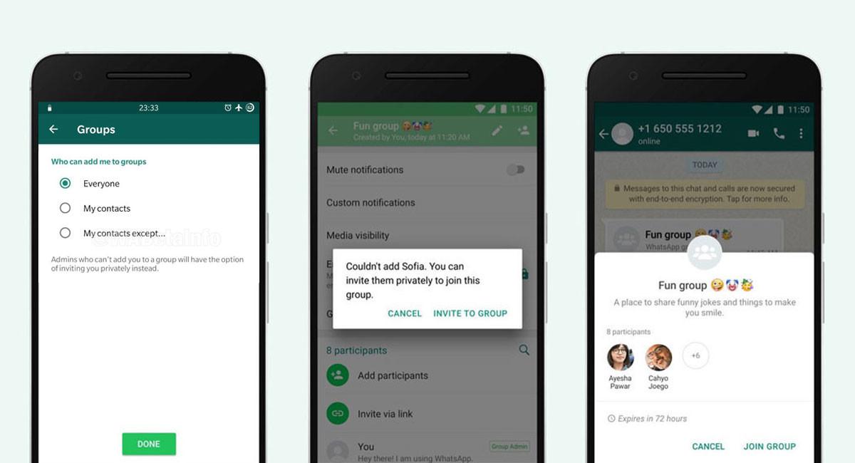 WhatsApp nos dejará decidir quién puede añadirnos a grupos y quién no, según WaBetaInfo