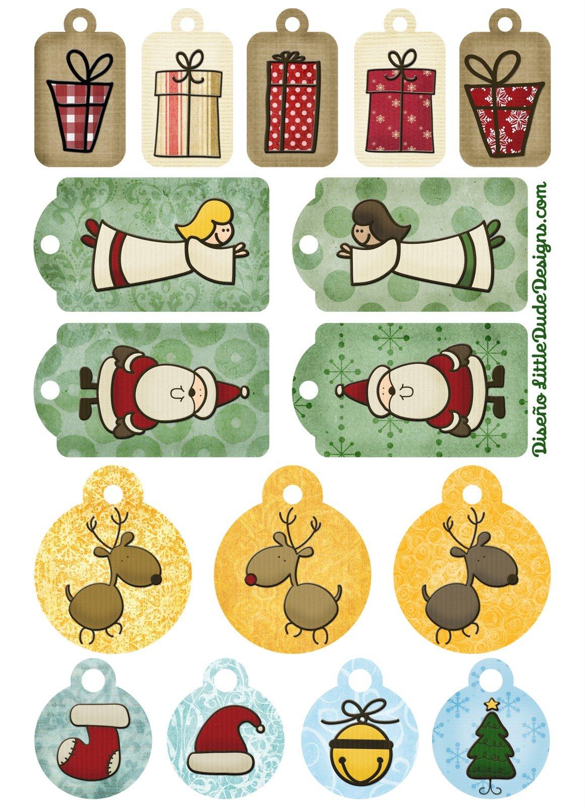 Tarjetas etiquetas y pegatinas de navidad para imprimir - Adornos para fotos gratis ...