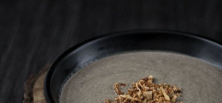 Crema de garbanzos con puerro y setas. Receta con y sin Thermomix