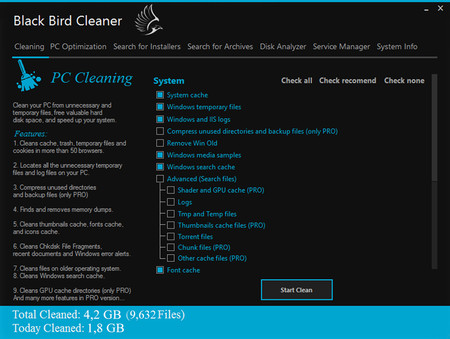 Black Bird Cleaner, una herramienta ligera para limpiar y optimizar Windows
