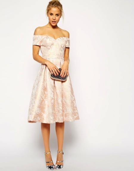 vestido jacquard color rosa asos