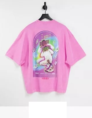 Camiseta extragrande rosa con estampado de COLLUSION