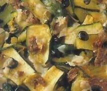 Calabacines con queso y anchoas