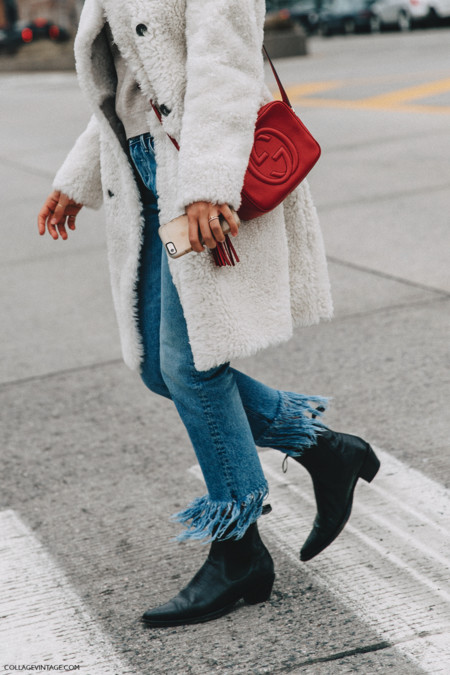 Nyfw New York Fashion Week Fall Winter 16 Street Style Fur Coat White Fringed Jeans 2