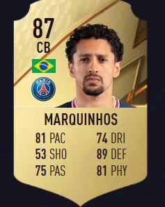 Marquinhos fifa 22 mejores defensas