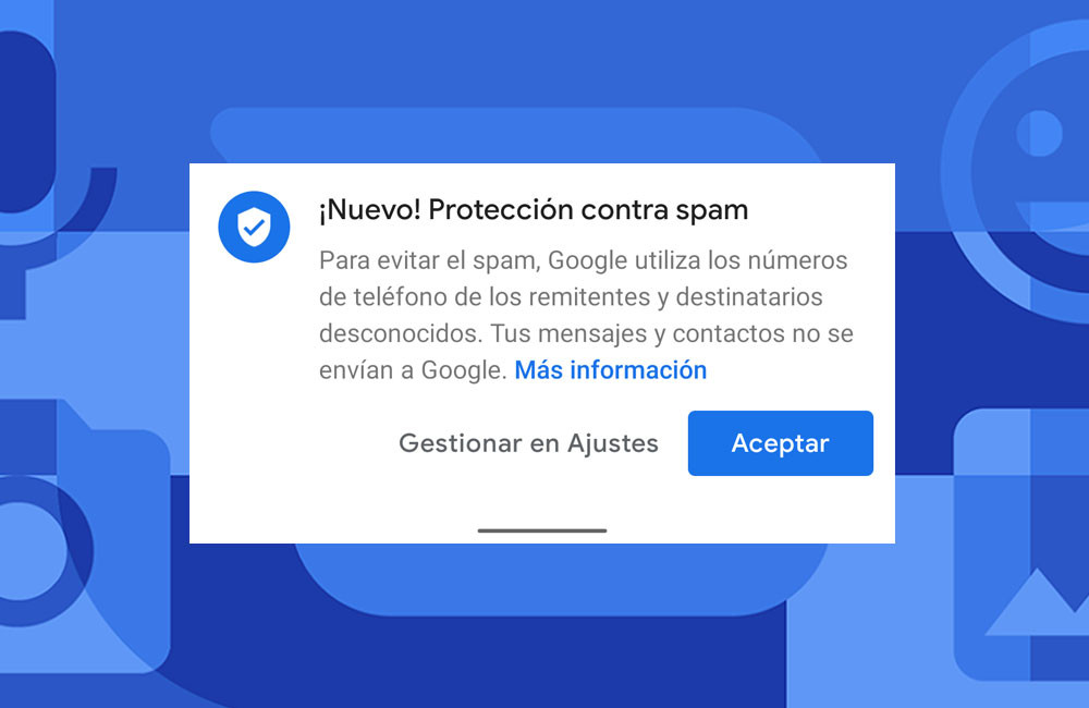 Google Message: your spam protection is active in Spain