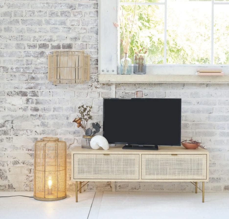 Mueble de TV con 2 puertas de enrejado de mimbre Solstice