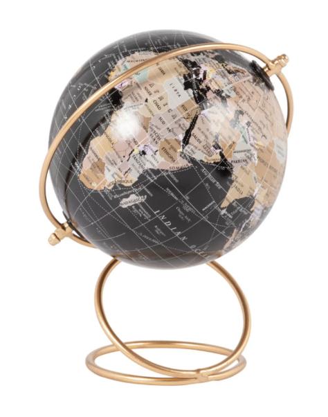 Globo terráqueo con mapamundi negro y soporte de metal dorado