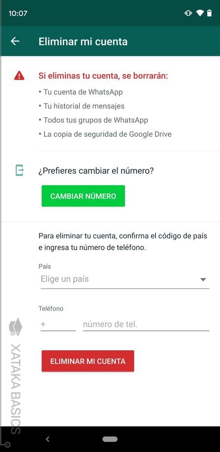 Opciones Eliminar Android