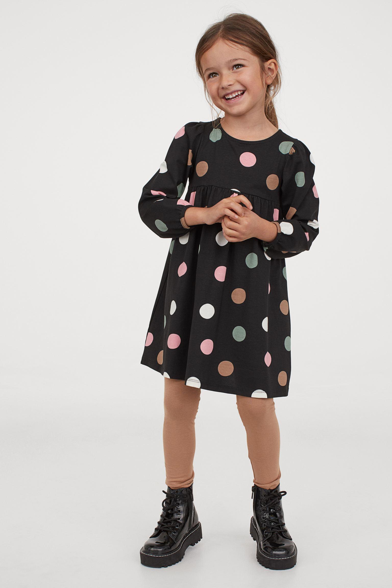 Vestido de algodón de maxi lunares con leggings