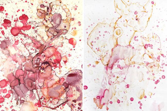 Arte con manchas de bebidas