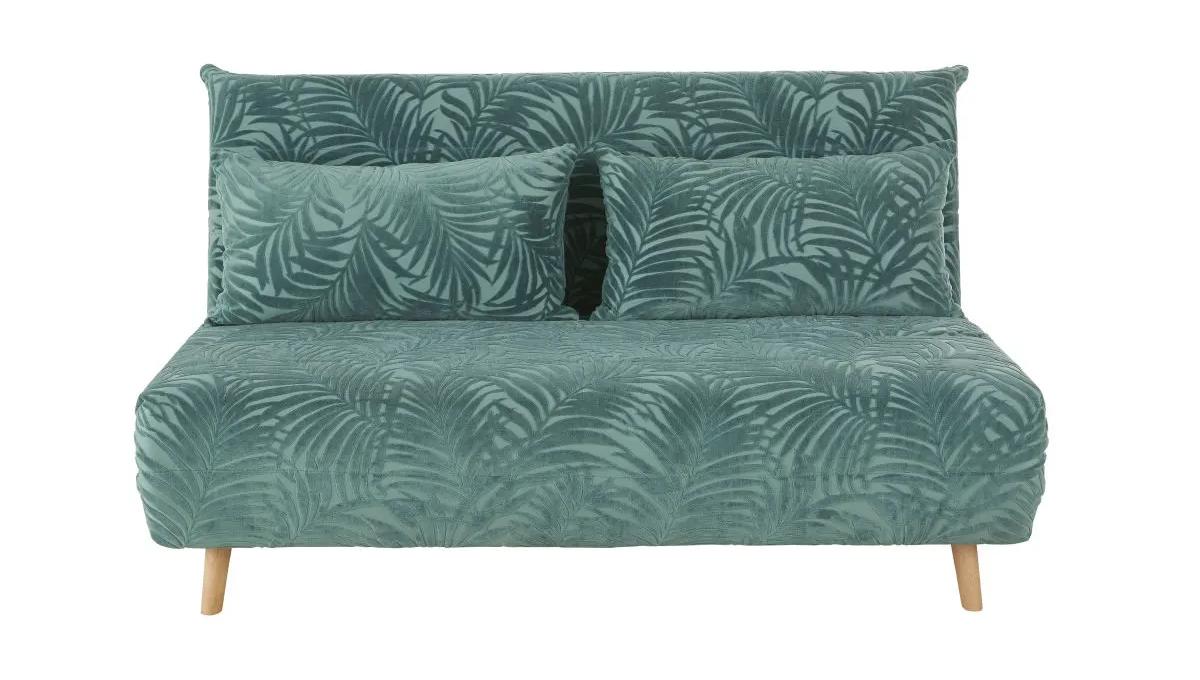Sillón cama de 2 plazas de terciopelo verde con motivos decorativos de palmeras