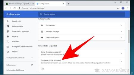 Einstellungen der Google Chrome-Website