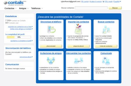 Contails, agenda social de contactos con sincronización con dispositivos móviles