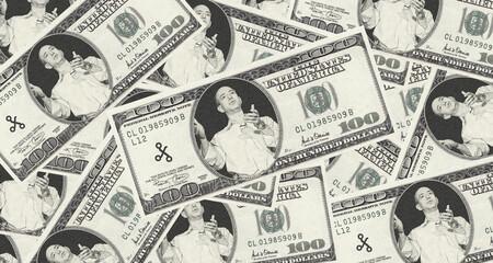Billetes de 100 dólares con el rostro de Jeff Bezos.