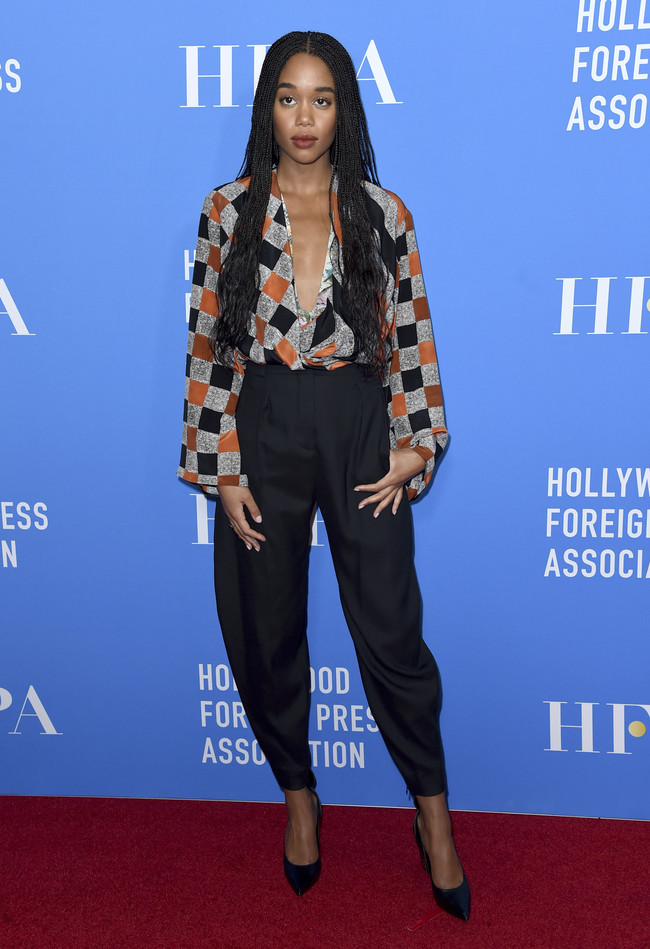 hfpa banquete red carpet Laura Harrier