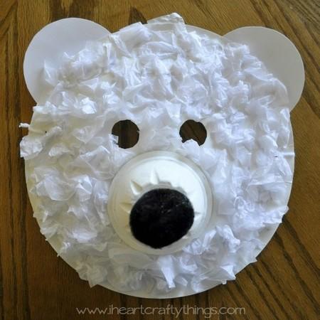 Manualidades Invierno Mascara Oso Polar