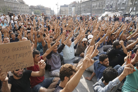 Syrian Refugees Strike In Front Of Budapest Keleti Railway Station Refugee Crisis Budapest Hungary Central Europe 3 September 2015