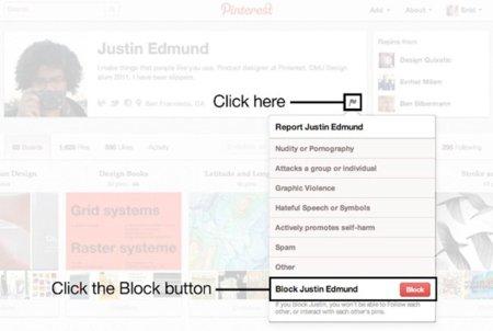 Reportar y bloquear usuarios, una nueva funcionalidad en la guerra de Pinterest contra el spam