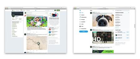 Comparativa del antiguo diseño de Twitter y el actual.