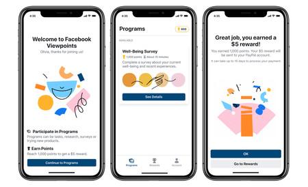 Facebook lanza 'Facebook Viewpoints', una app que te paga dinero por responder encuestas, de momento, sólo en Estados Unidos