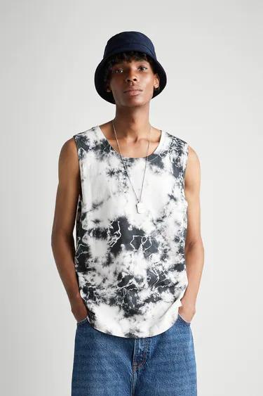 Camiseta sin mangas de estampado tye-die