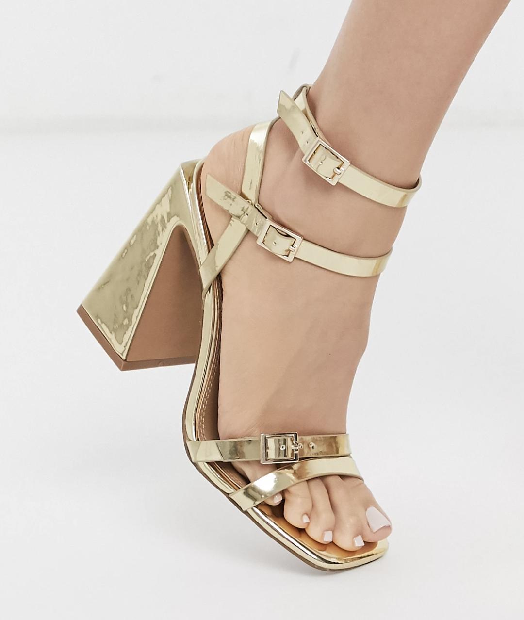 Sandalias de tacón cuadrado en dorado Nitro de ASOS DESIGN