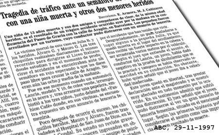 Atropello en Barcelona, según ABC (29-11-1997)
