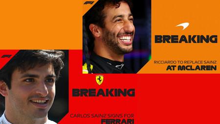 ¡Oficial! Carlos Sainz ocupará el lugar de Sebastian Vettel en Ferrari y Daniel Ricciardo llega a McLaren
