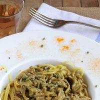Receta de espaguetis al curry de carne