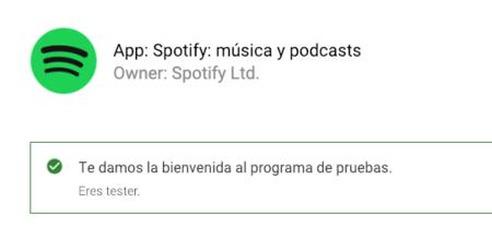Beta Testers de Spotify en Android