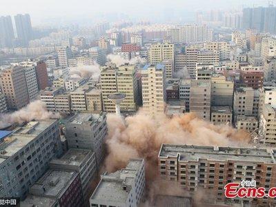 La demolición más grande en la historia de China consistió en derrumbar 36 edificios en sólo 20 segundos