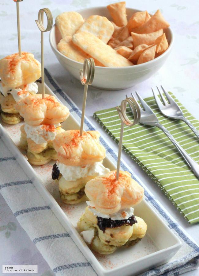 hojaldres de tomate seco y queso de cabra aperitivo fácil y rápido