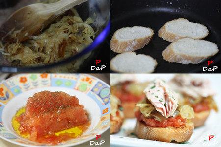 Hacer un pintxo de bonito con cebolla caramelizada y tomate