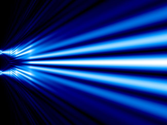 Double Slit X Ray Simulation Monochromatic Blue White