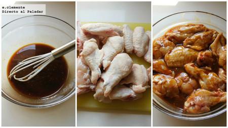Alitas de pollo laqueadas con salsa hoisin y sirope de arce