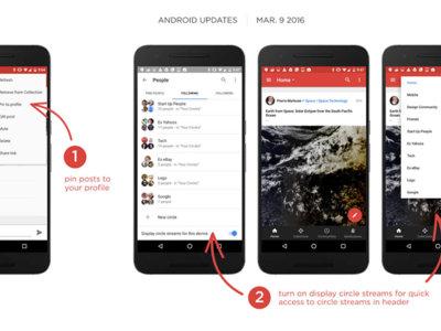 Google+ 7.4.0 te deja fijar posts en tu perfil y usar tus círculos para filtrar contenido
