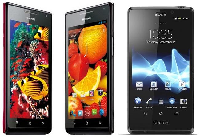 Precios Sony Xperia T y Huawei Ascend P1 con Vodafone