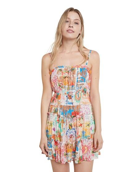 Vestido De Playa Corto Tirante Fino Con Estampado Postales