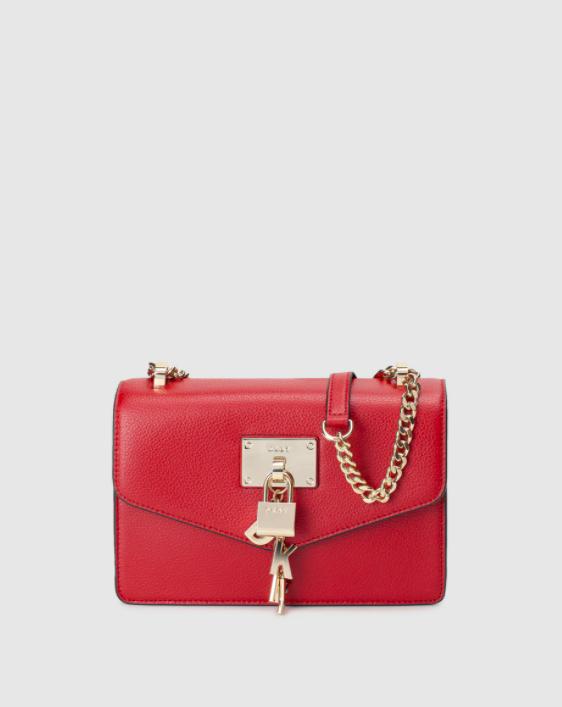 Bolso de hombro pequeño DKNY de piel en rojo con cierre de imán