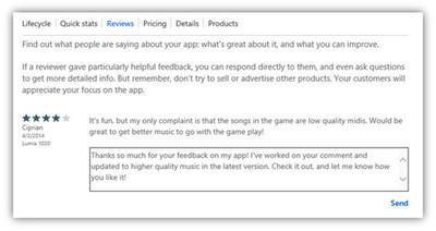 Microsoft permitirá a los desarrolladores de Windows Phone responder a reviews de usuarios