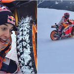 Marc Márquez no se separa de su Honda RC213V ni en invierno, ¡y se va con ella a la nieve!